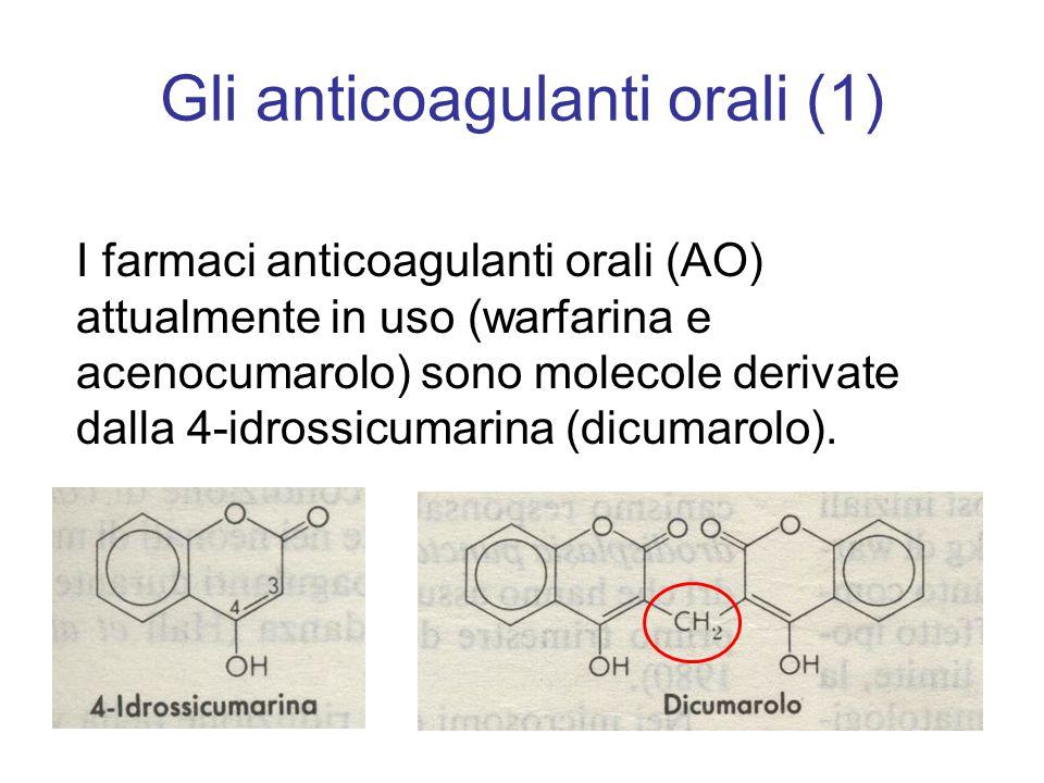 Gli anticoagulanti orali (1) I farmaci anticoagulanti orali (AO) attualmente in uso (warfarina e acenocumarolo) sono molecole derivate dalla 4-idrossi