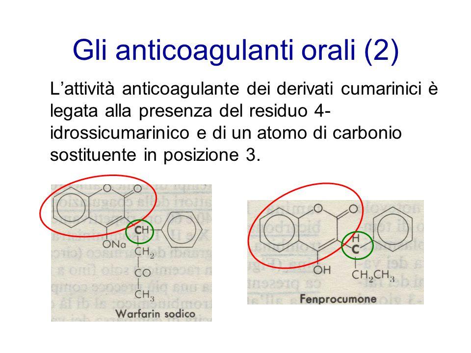 Gli anticoagulanti orali (2) L'attività anticoagulante dei derivati cumarinici è legata alla presenza del residuo 4- idrossicumarinico e di un atomo d