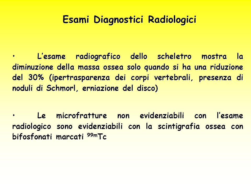 Esami Diagnostici Radiologici L'esame radiografico dello scheletro mostra la diminuzione della massa ossea solo quando si ha una riduzione del 30% (ip