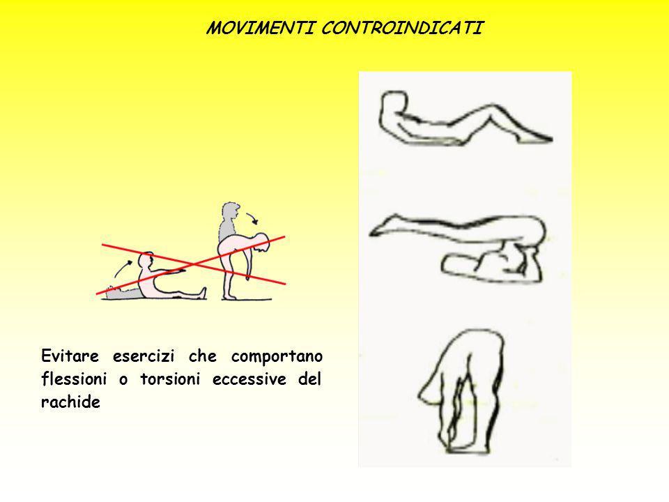 MOVIMENTI CONTROINDICATI Evitare esercizi che comportano flessioni o torsioni eccessive del rachide