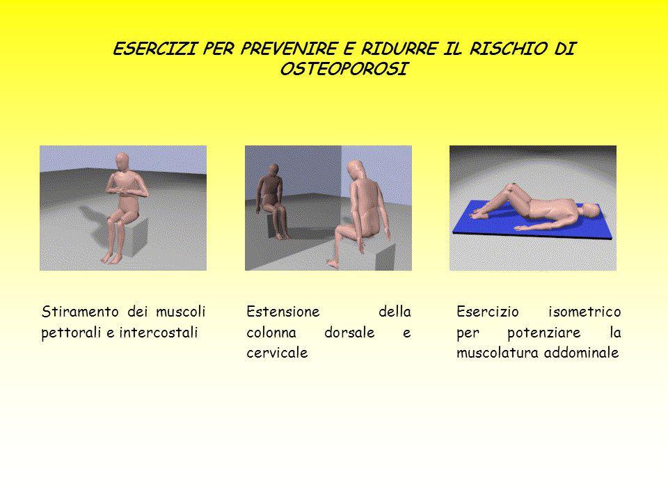 ESERCIZI PER PREVENIRE E RIDURRE IL RISCHIO DI OSTEOPOROSI Stiramento dei muscoli pettorali e intercostali Estensione della colonna dorsale e cervical