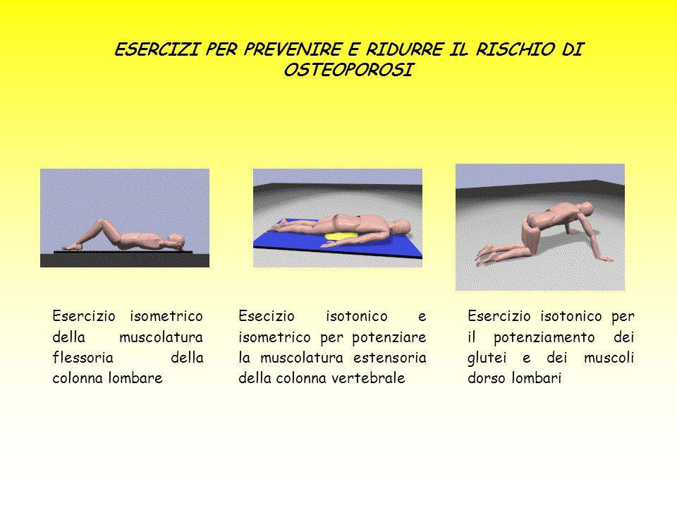 ESERCIZI PER PREVENIRE E RIDURRE IL RISCHIO DI OSTEOPOROSI Esercizio isometrico della muscolatura flessoria della colonna lombare Esecizio isotonico e