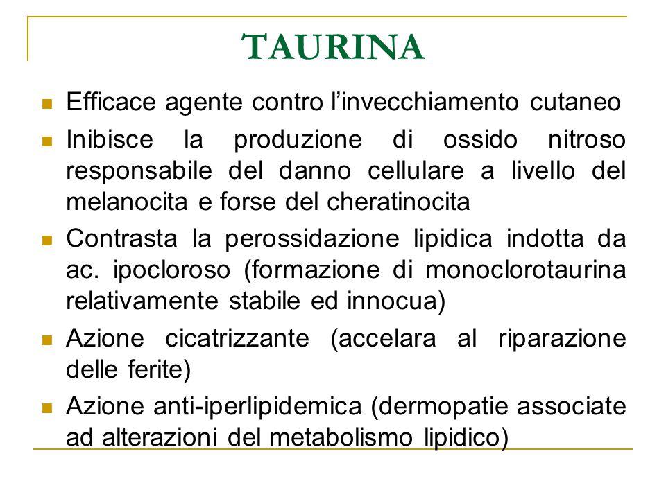 TAURINA Efficace agente contro l'invecchiamento cutaneo Inibisce la produzione di ossido nitroso responsabile del danno cellulare a livello del melano