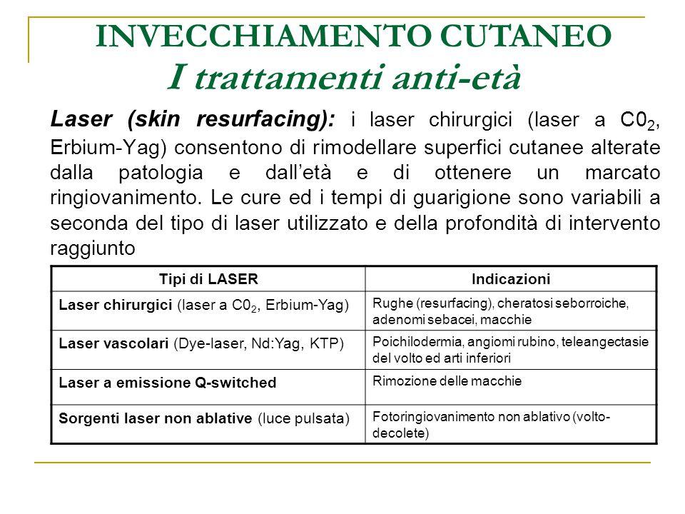I trattamenti anti-età INVECCHIAMENTO CUTANEO Laser (skin resurfacing): i laser chirurgici (laser a C0 2, Erbium-Yag) consentono di rimodellare superf