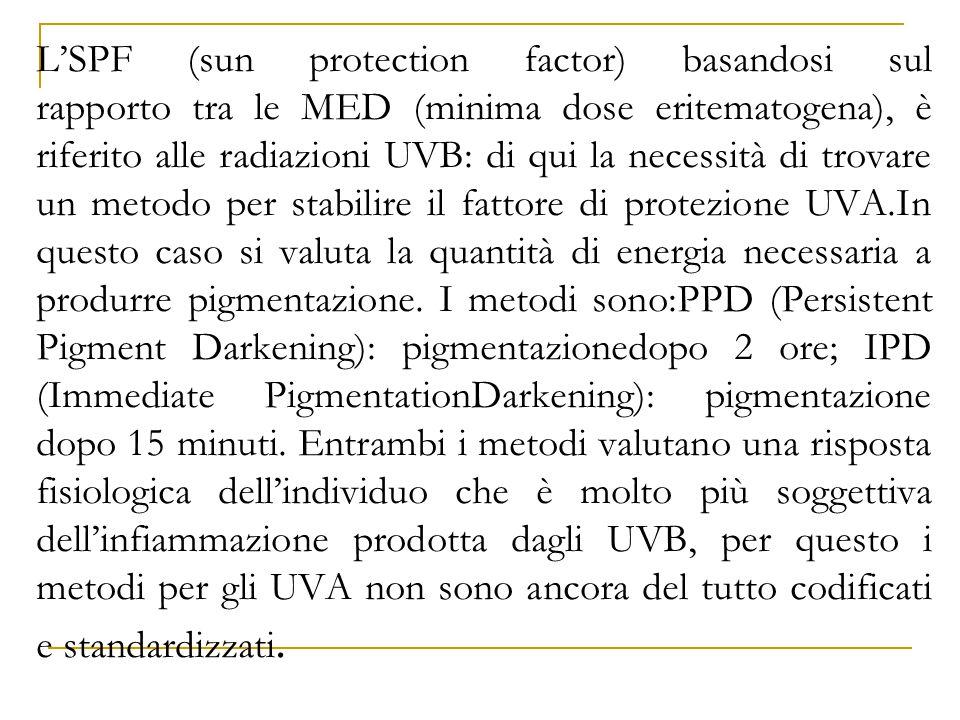 L'SPF (sun protection factor) basandosi sul rapporto tra le MED (minima dose eritematogena), è riferito alle radiazioni UVB: di qui la necessità di tr