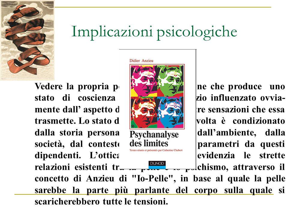 Implicazioni psicologiche Vedere la propria pelle è una sensazione che produce uno stato di coscienza con auto-giudizio influenzato ovvia- mente dall'