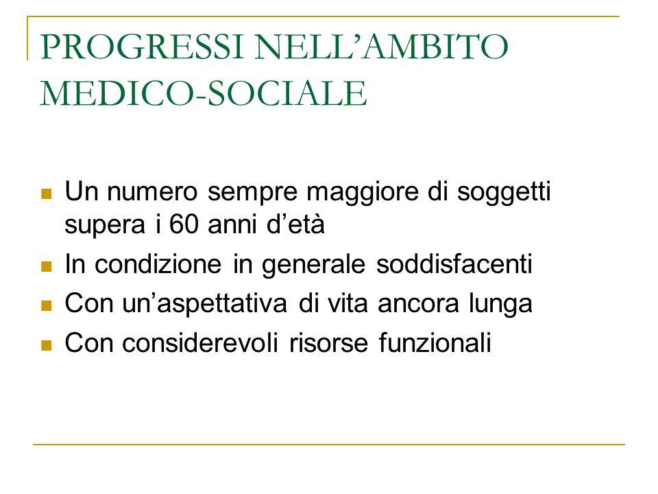 PROGRESSI NELL'AMBITO MEDICO-SOCIALE Un numero sempre maggiore di soggetti supera i 60 anni d'età In condizione in generale soddisfacenti Con un'aspet
