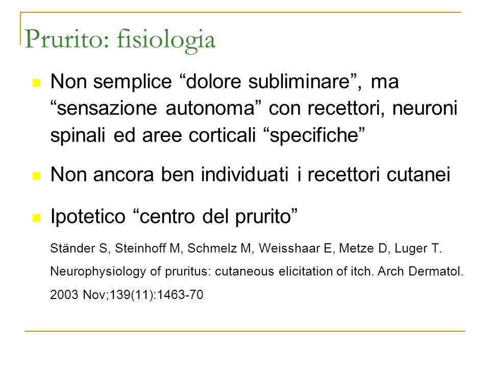 """Prurito: fisiologia Non semplice """"dolore subliminare"""", ma """"sensazione autonoma"""" con recettori, neuroni spinali ed aree corticali """"specifiche"""" Non anco"""
