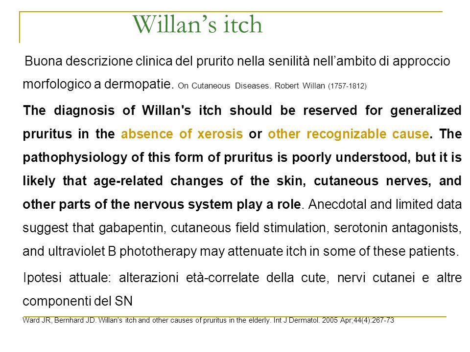 Willan's itch Buona descrizione clinica del prurito nella senilità nell'ambito di approccio morfologico a dermopatie. On Cutaneous Diseases. Robert Wi