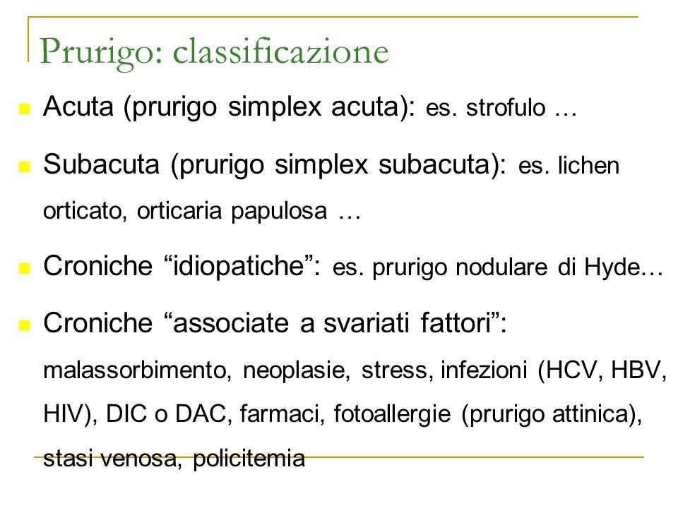 Prurigo: classificazione Acuta (prurigo simplex acuta): es. strofulo … Subacuta (prurigo simplex subacuta): es. lichen orticato, orticaria papulosa …