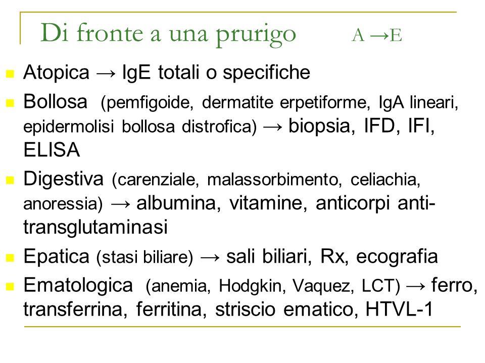 Di fronte a una prurigo A →E Atopica → IgE totali o specifiche Bollosa (pemfigoide, dermatite erpetiforme, IgA lineari, epidermolisi bollosa distrofic
