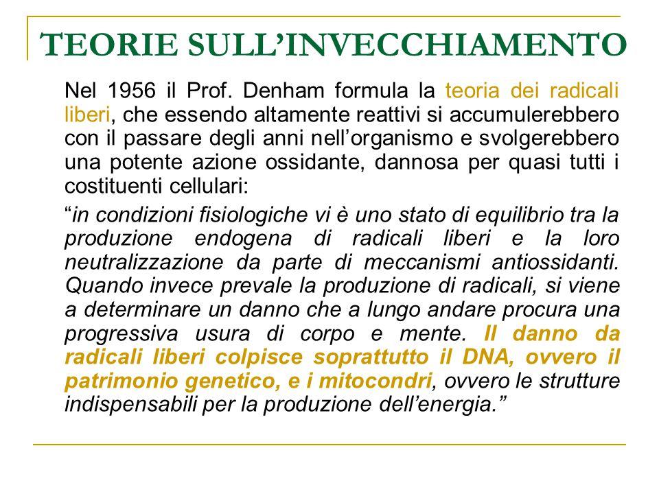 TEORIE SULL'INVECCHIAMENTO Nel 1956 il Prof. Denham formula la teoria dei radicali liberi, che essendo altamente reattivi si accumulerebbero con il pa