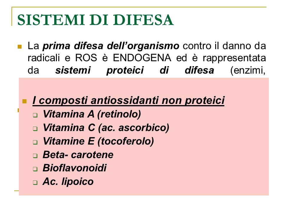 SISTEMI DI DIFESA La prima difesa dell'organismo contro il danno da radicali e ROS è ENDOGENA ed è rappresentata da sistemi proteici di difesa (enzimi