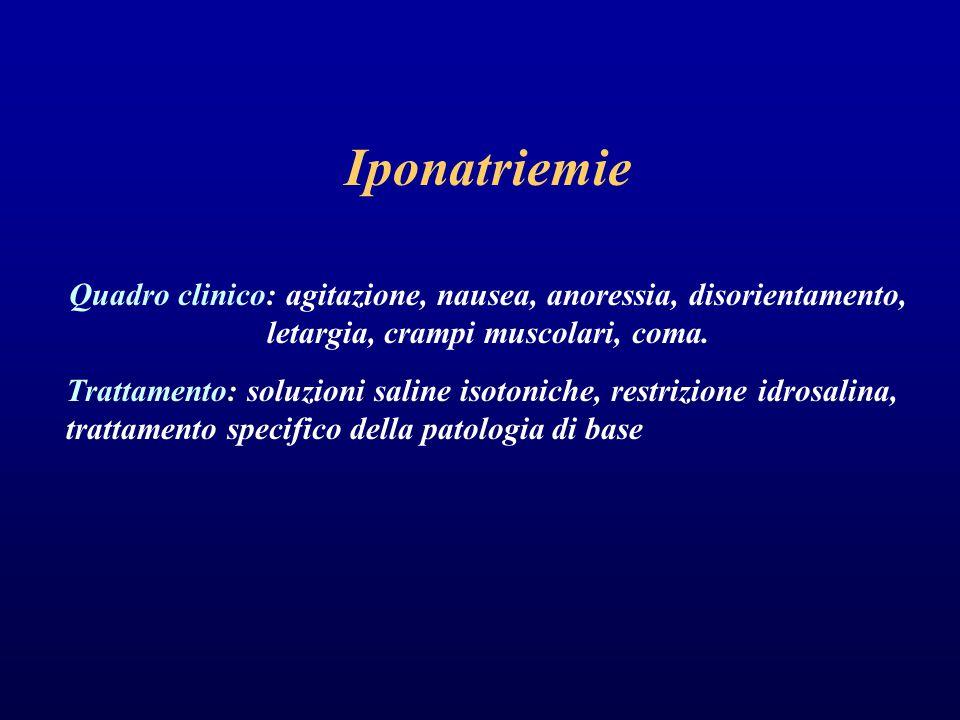 Iponatriemie Quadro clinico: agitazione, nausea, anoressia, disorientamento, letargia, crampi muscolari, coma. Trattamento: soluzioni saline isotonich