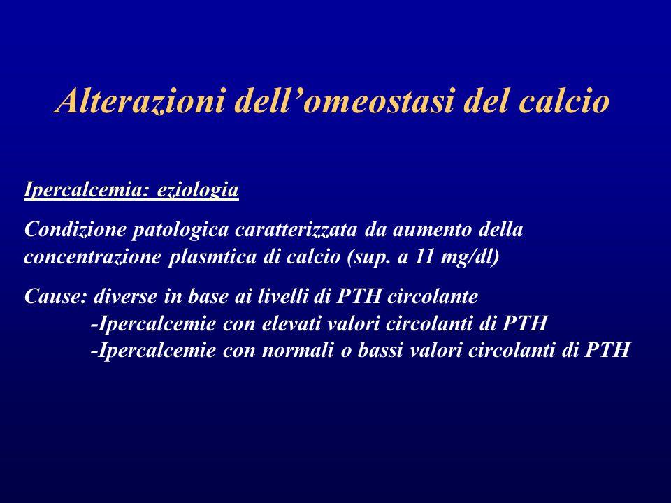 Alterazioni dell'omeostasi del calcio Ipercalcemia: eziologia Condizione patologica caratterizzata da aumento della concentrazione plasmtica di calcio (sup.