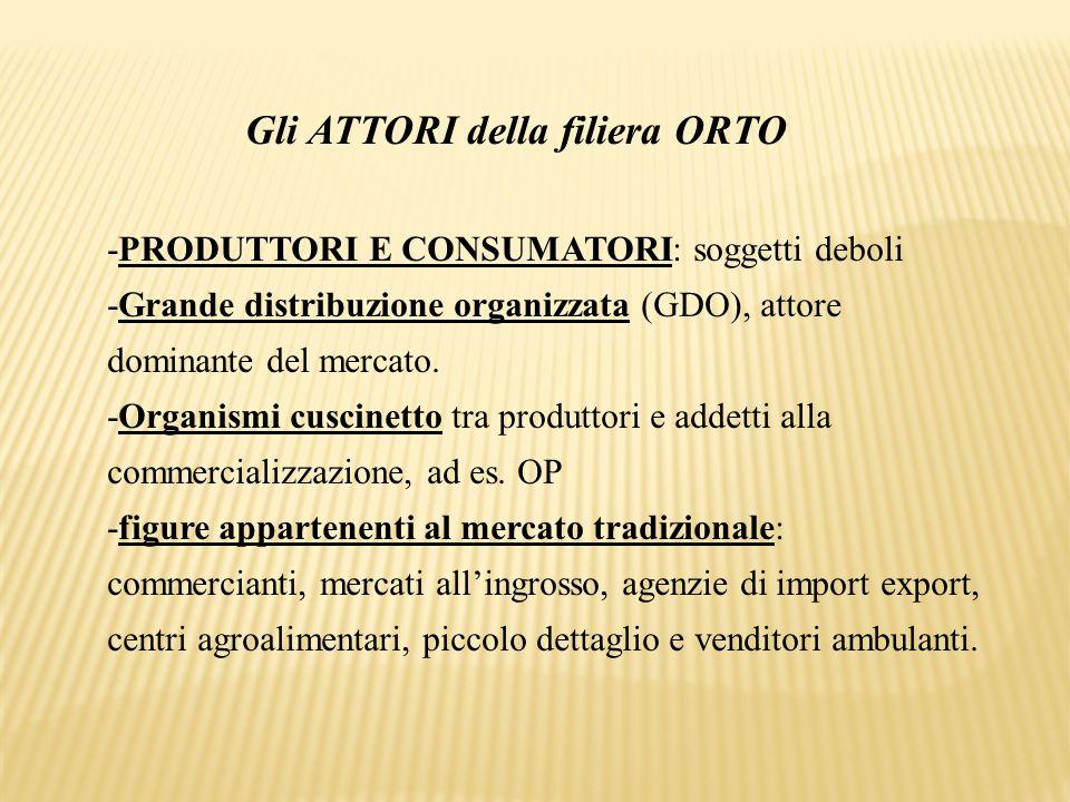 Gli ATTORI della filiera ORTO -PRODUTTORI E CONSUMATORI: soggetti deboli -Grande distribuzione organizzata (GDO), attore dominante del mercato. -Organ