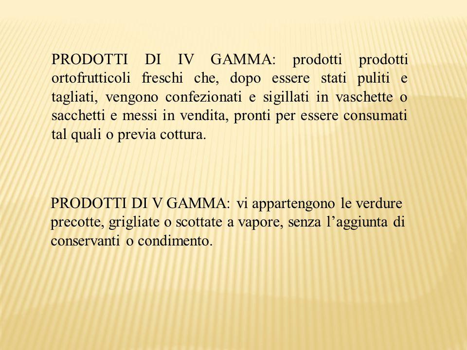 PRODOTTI DI IV GAMMA: prodotti prodotti ortofrutticoli freschi che, dopo essere stati puliti e tagliati, vengono confezionati e sigillati in vaschette