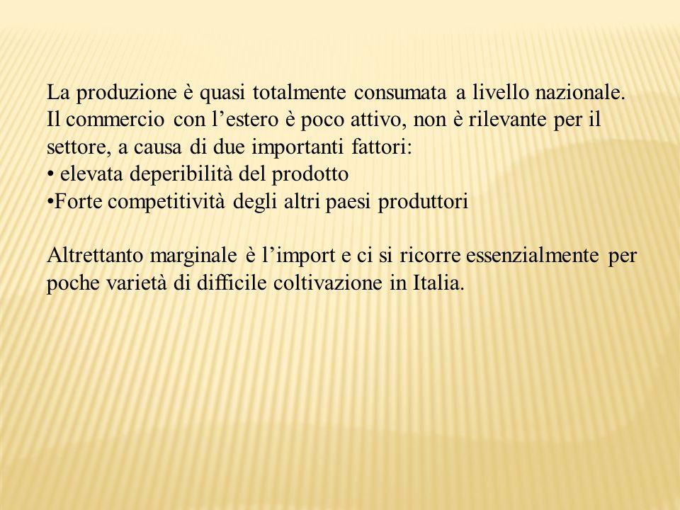 La produzione è quasi totalmente consumata a livello nazionale. Il commercio con l'estero è poco attivo, non è rilevante per il settore, a causa di du
