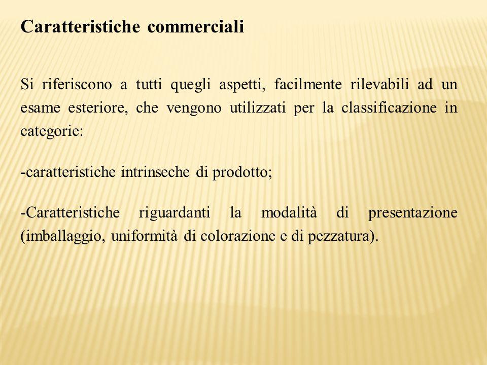 Caratteristiche commerciali Si riferiscono a tutti quegli aspetti, facilmente rilevabili ad un esame esteriore, che vengono utilizzati per la classifi