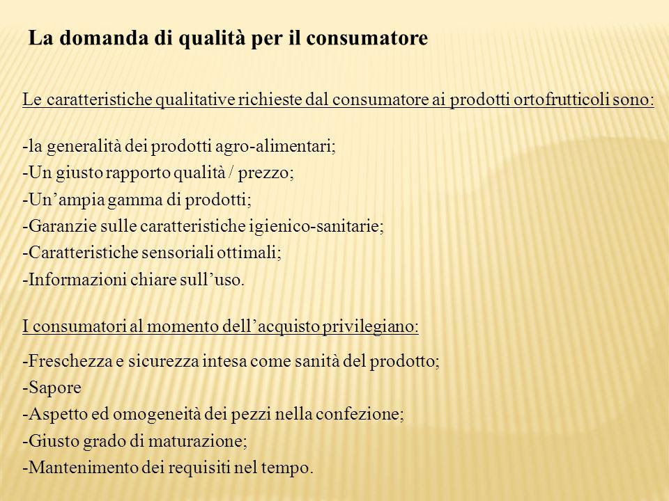 La domanda di qualità per il consumatore Le caratteristiche qualitative richieste dal consumatore ai prodotti ortofrutticoli sono: -la generalità dei