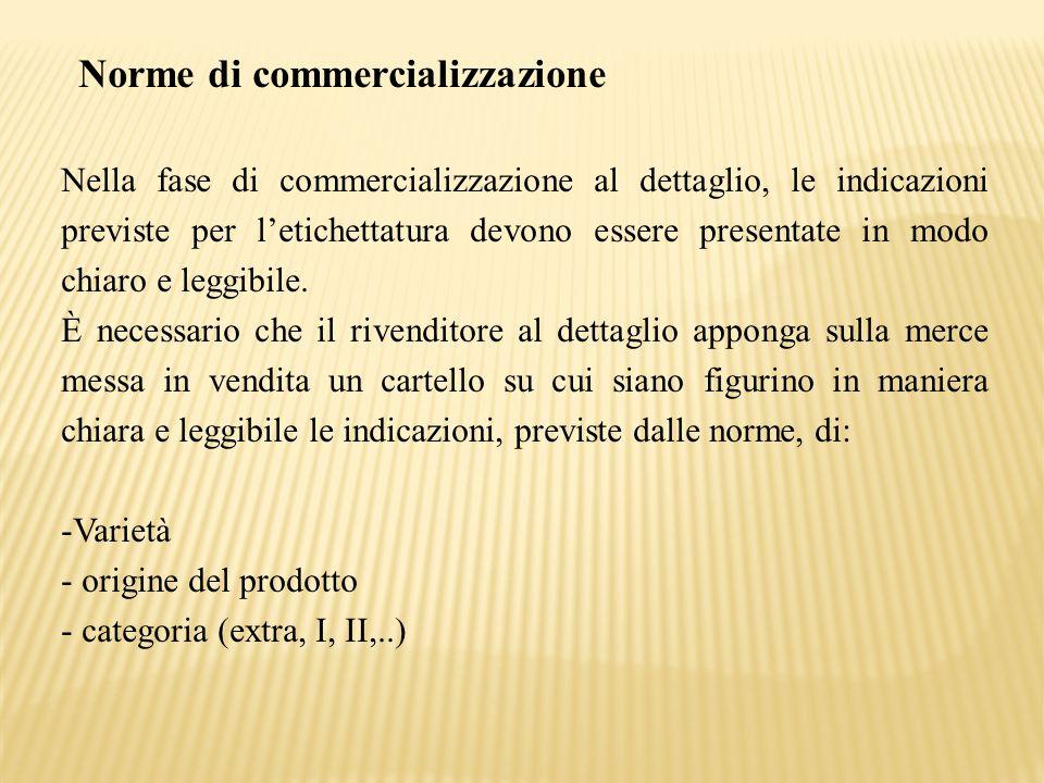Norme di commercializzazione Nella fase di commercializzazione al dettaglio, le indicazioni previste per l'etichettatura devono essere presentate in m