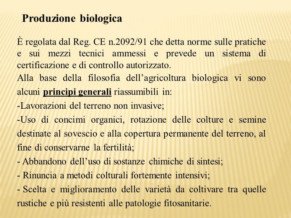 Produzione biologica È regolata dal Reg. CE n.2092/91 che detta norme sulle pratiche e sui mezzi tecnici ammessi e prevede un sistema di certificazion
