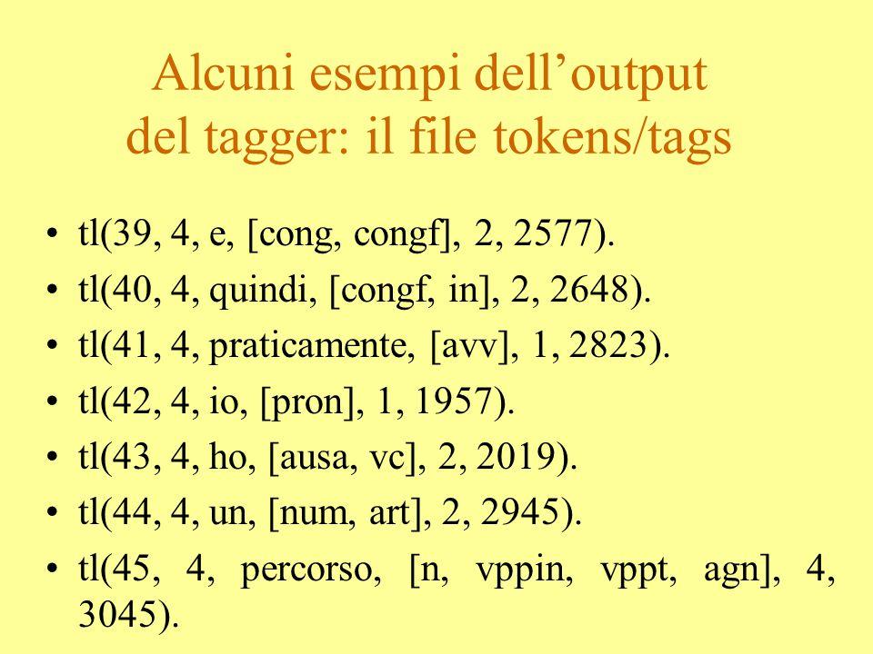 Alcuni esempi di marcatura xml il file ortografico Sara, allora