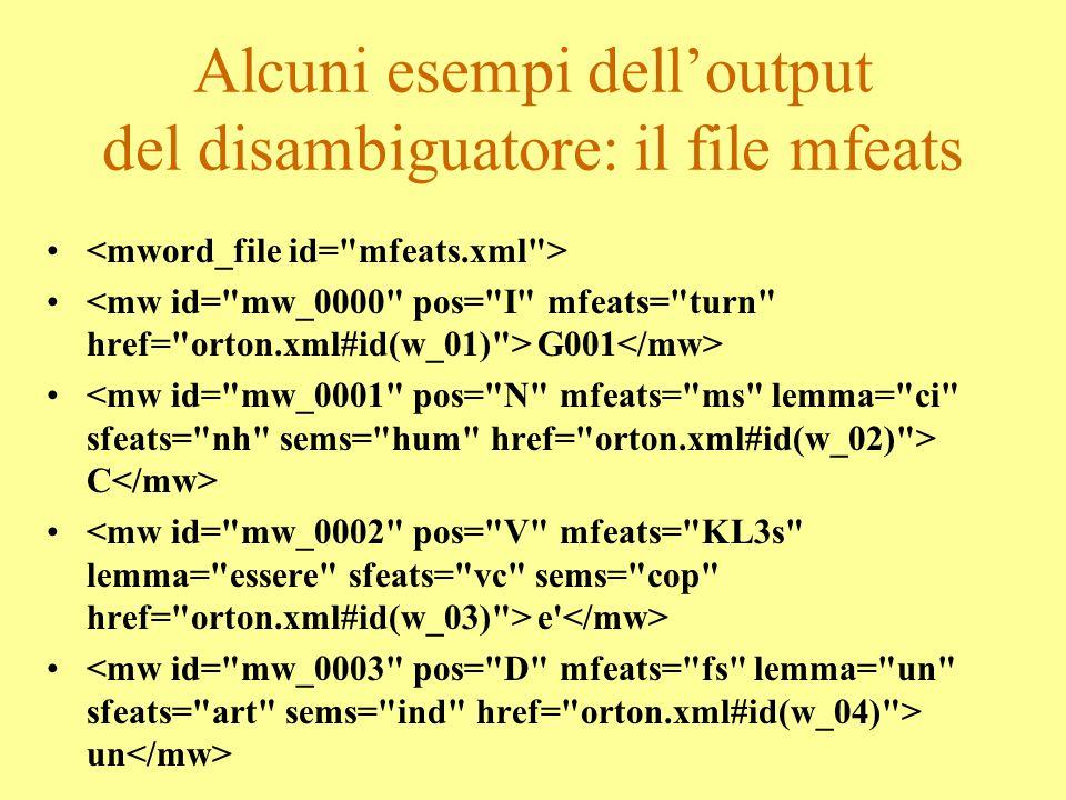 Alcuni esempi dell'output del tagger: il file frasi f(1,1,11,[g001, senti, che_cosa, c, hai, ',', la, mappa, senza, il, tracciato, ?]). f(21,21,13,[g0