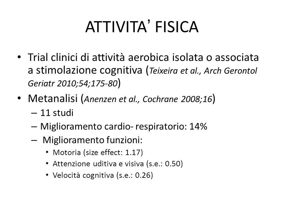 ATTIVITA' FISICA Trial clinici di attività aerobica isolata o associata a stimolazione cognitiva ( Teixeira et al., Arch Gerontol Geriatr 2010;54;175-