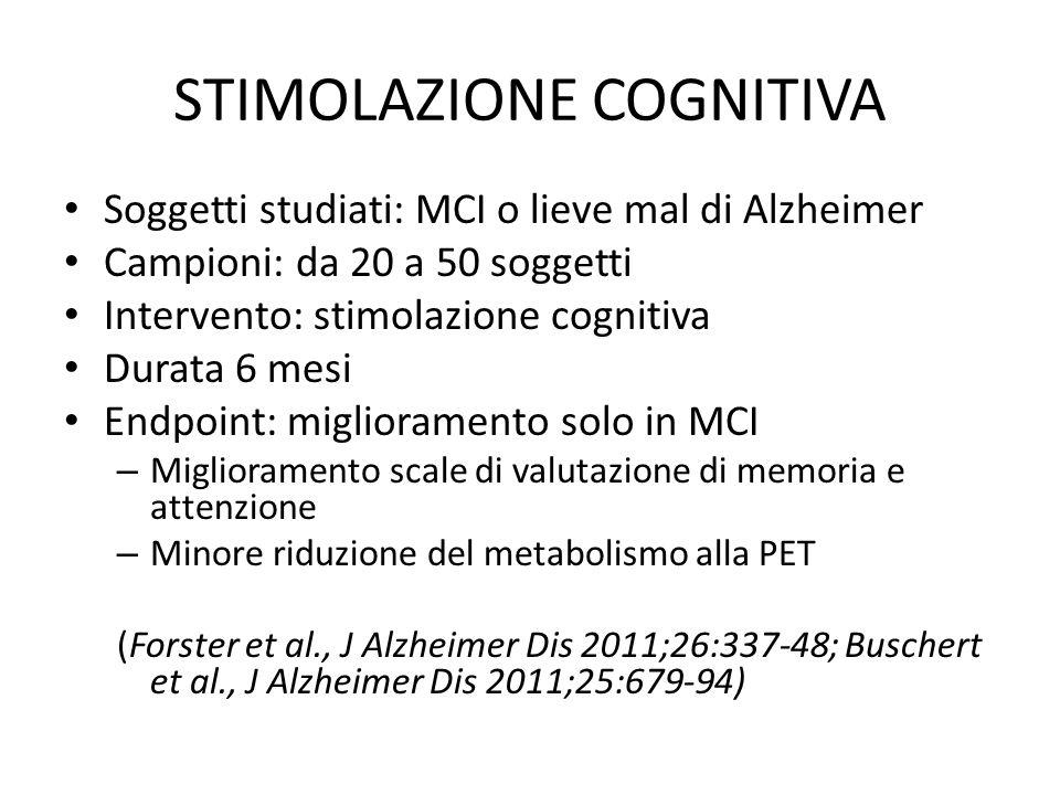 STIMOLAZIONE COGNITIVA Soggetti studiati: MCI o lieve mal di Alzheimer Campioni: da 20 a 50 soggetti Intervento: stimolazione cognitiva Durata 6 mesi