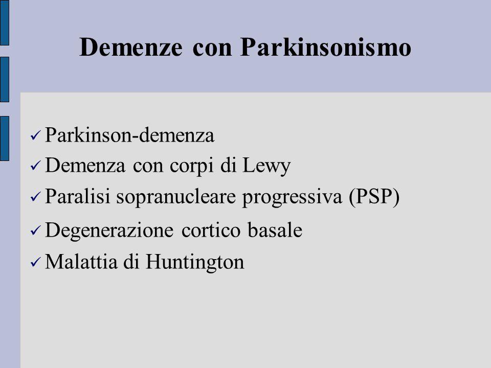 Demenze con Parkinsonismo Parkinson-demenza Demenza con corpi di Lewy Paralisi sopranucleare progressiva (PSP) Degenerazione cortico basale Malattia di Huntington