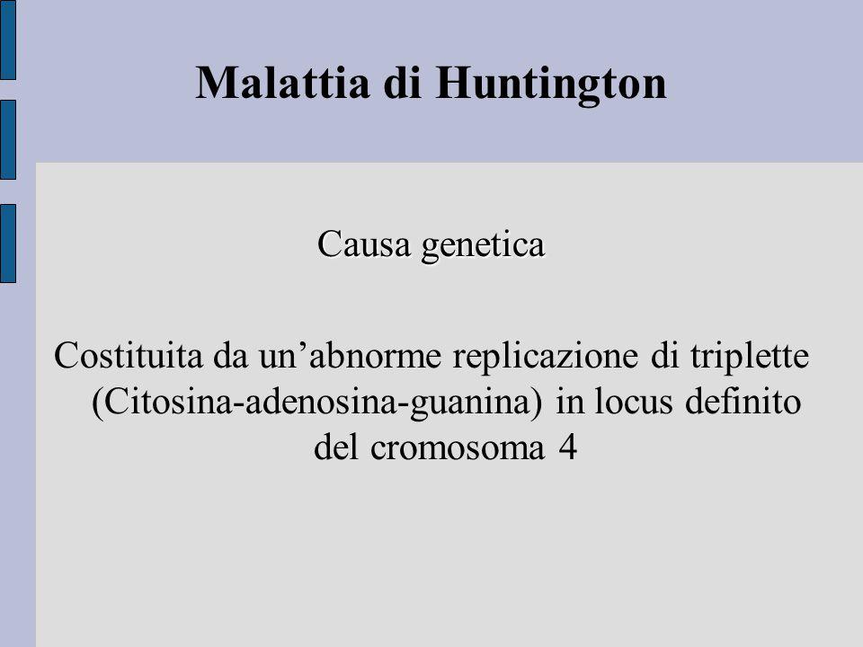 Malattia di Huntington Causa genetica Costituita da un'abnorme replicazione di triplette (Citosina-adenosina-guanina) in locus definito del cromosoma 4