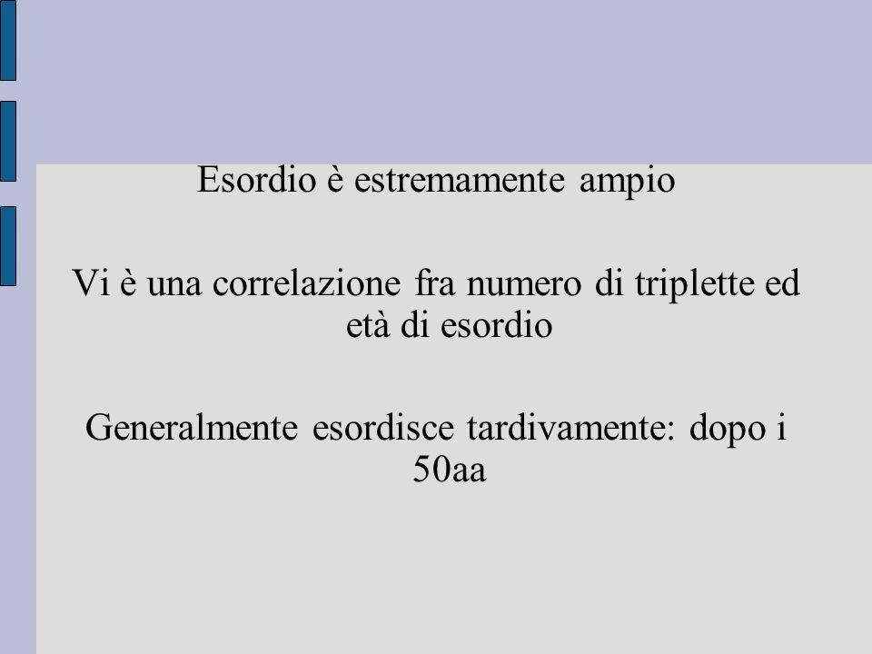 Esordio è estremamente ampio Vi è una correlazione fra numero di triplette ed età di esordio Generalmente esordisce tardivamente: dopo i 50aa
