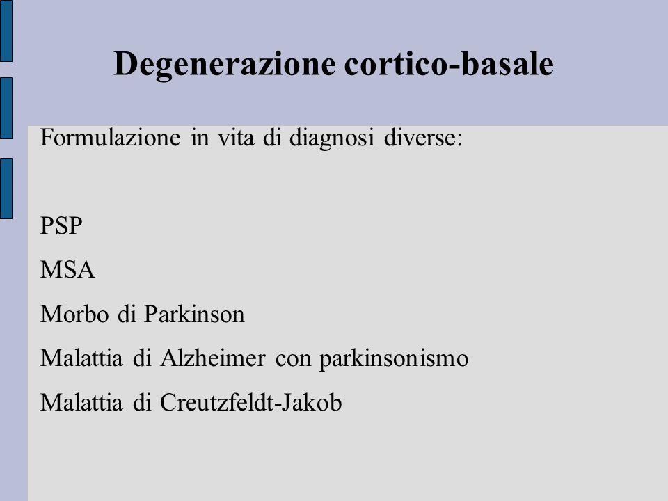 Degenerazione cortico-basale Formulazione in vita di diagnosi diverse: PSP MSA Morbo di Parkinson Malattia di Alzheimer con parkinsonismo Malattia di Creutzfeldt-Jakob