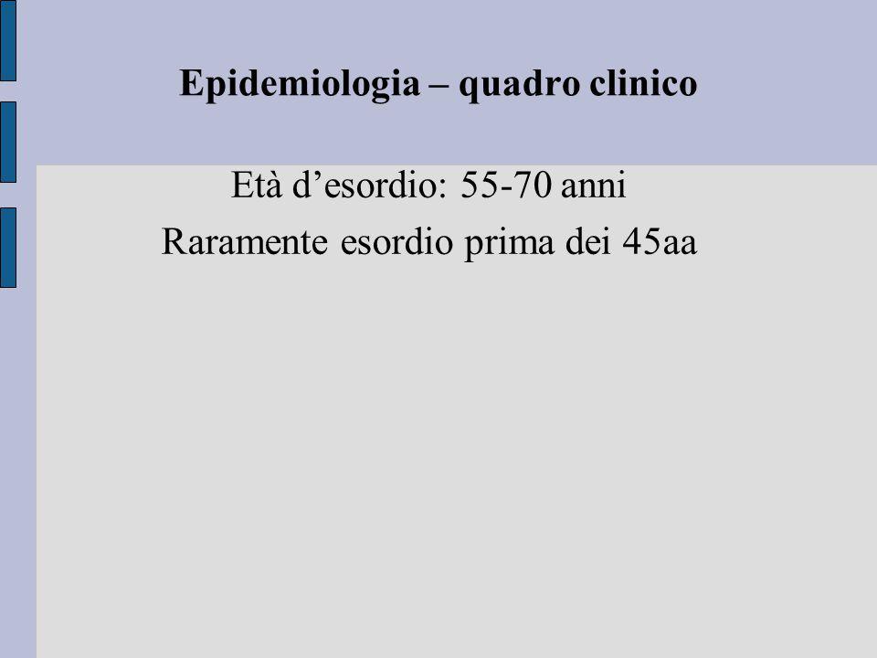 Epidemiologia – quadro clinico Età d'esordio: 55-70 anni Raramente esordio prima dei 45aa