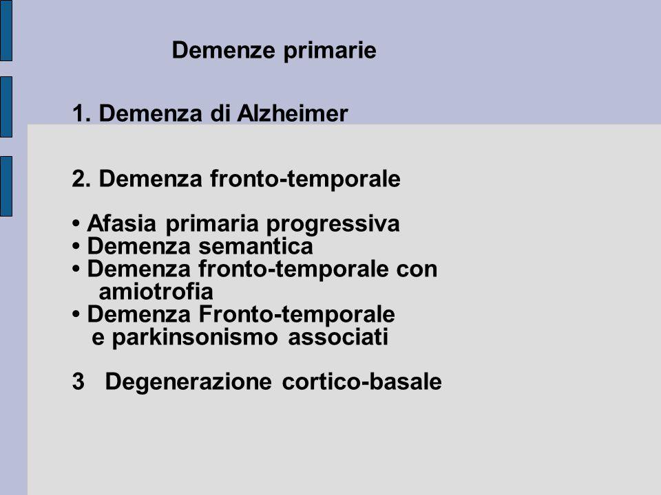 Demenze primarie 1.Demenza di Alzheimer 2.