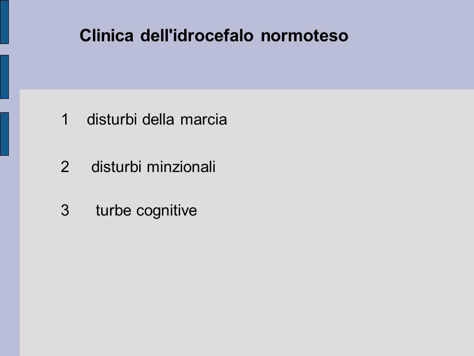 Clinica dell idrocefalo normoteso 1 disturbi della marcia 2 disturbi minzionali 3 turbe cognitive