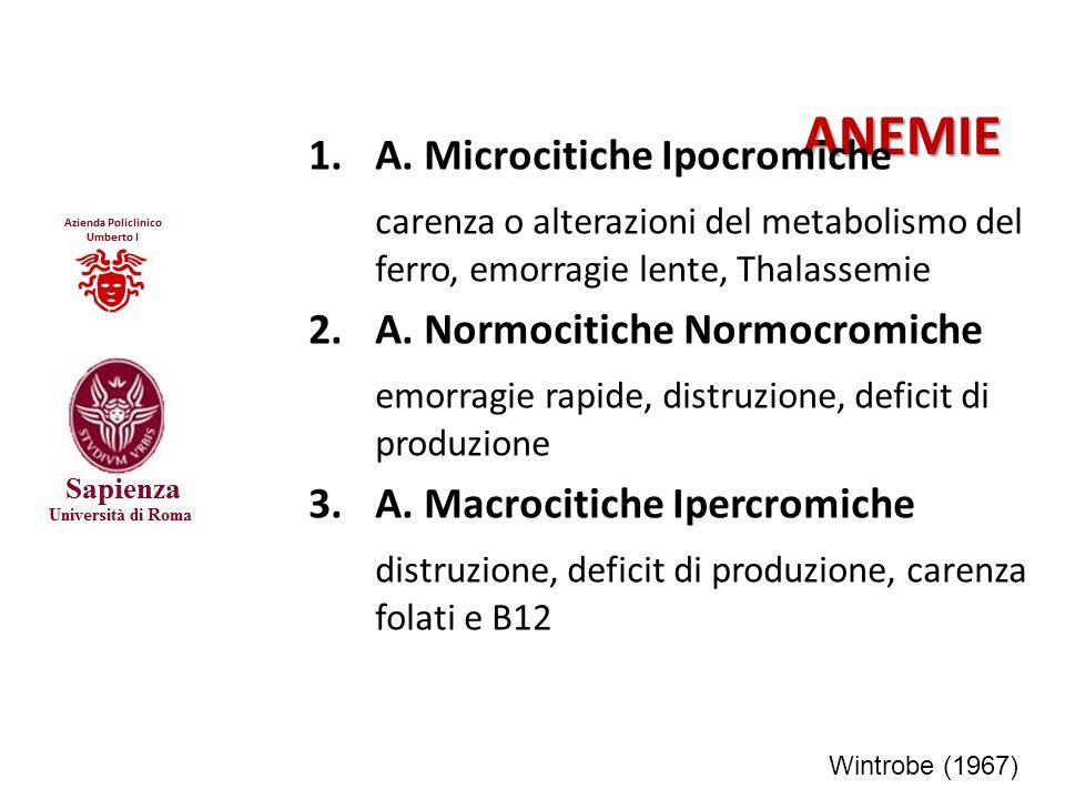 ANEMIE 1. A. Microcitiche Ipocromiche carenza o alterazioni del metabolismo del ferro, emorragie lente, Thalassemie 2.A. Normocitiche Normocromiche em