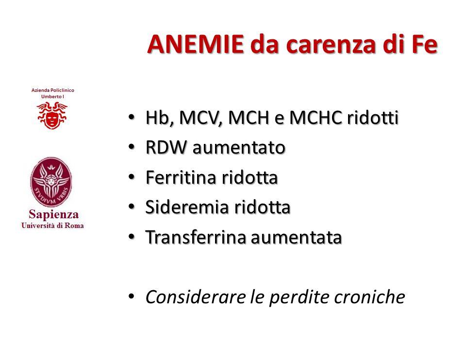 ANEMIE da carenza di Fe Hb, MCV, MCH e MCHC ridotti Hb, MCV, MCH e MCHC ridotti RDW aumentato RDW aumentato Ferritina ridotta Ferritina ridotta Sidere