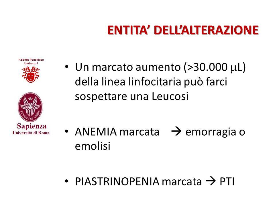 ENTITA' DELL'ALTERAZIONE Un marcato aumento (>30.000  L) della linea linfocitaria può farci sospettare una Leucosi ANEMIA marcata  emorragia o emoli