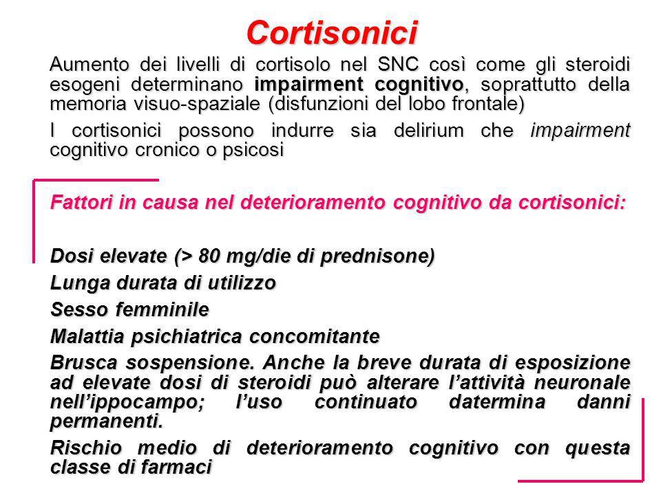 Cortisonici Aumento dei livelli di cortisolo nel SNC così come gli steroidi esogeni determinano impairment cognitivo, soprattutto della memoria visuo-