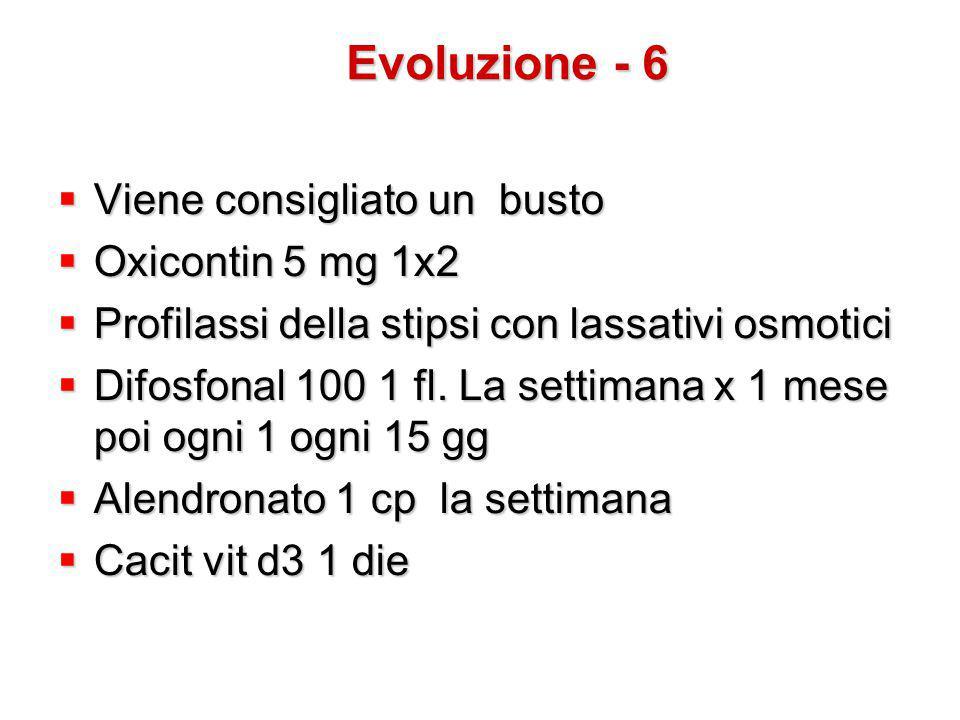  Viene consigliato un busto  Oxicontin 5 mg 1x2  Profilassi della stipsi con lassativi osmotici  Difosfonal 100 1 fl. La settimana x 1 mese poi og
