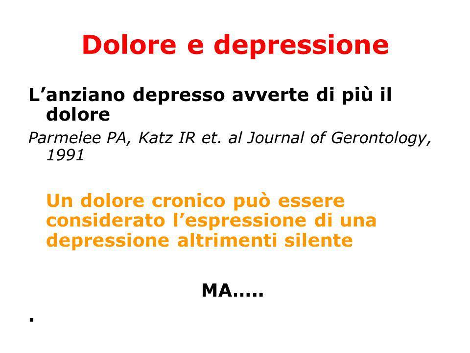 Dolore e depressione L'anziano depresso avverte di più il dolore Parmelee PA, Katz IR et. al Journal of Gerontology, 1991 Un dolore cronico può essere