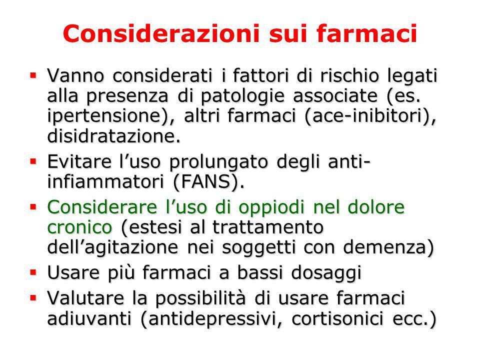 Considerazioni sui farmaci  Vanno considerati i fattori di rischio legati alla presenza di patologie associate (es. ipertensione), altri farmaci (ace