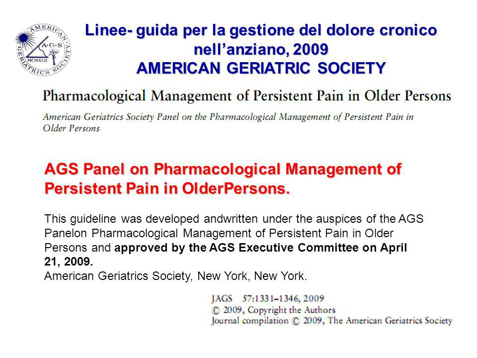AGS Panel on Pharmacological Management of Persistent Pain in OlderPersons. This guideline was developed andwritten under the auspices of the AGS Pane