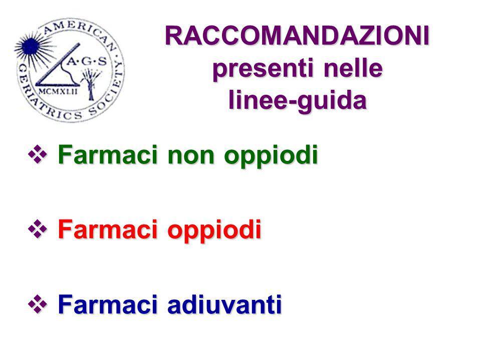 RACCOMANDAZIONI presenti nelle linee-guida  Farmaci non oppiodi  Farmaci oppiodi  Farmaci adiuvanti
