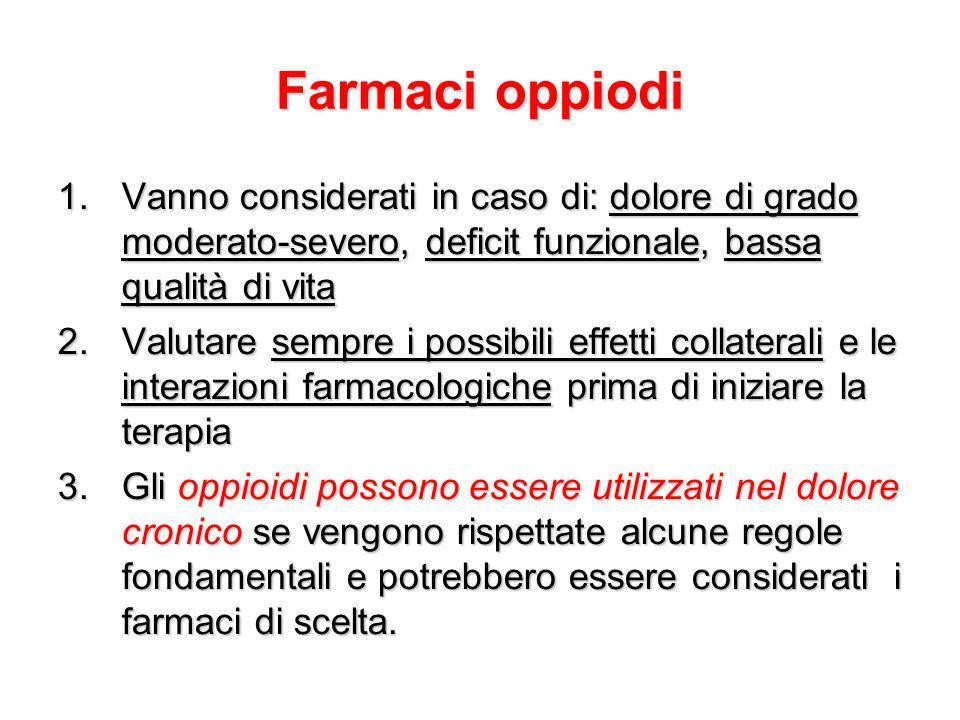 Farmaci oppiodi 1.Vanno considerati in caso di: dolore di grado moderato-severo, deficit funzionale, bassa qualità di vita 2.Valutare sempre i possibi