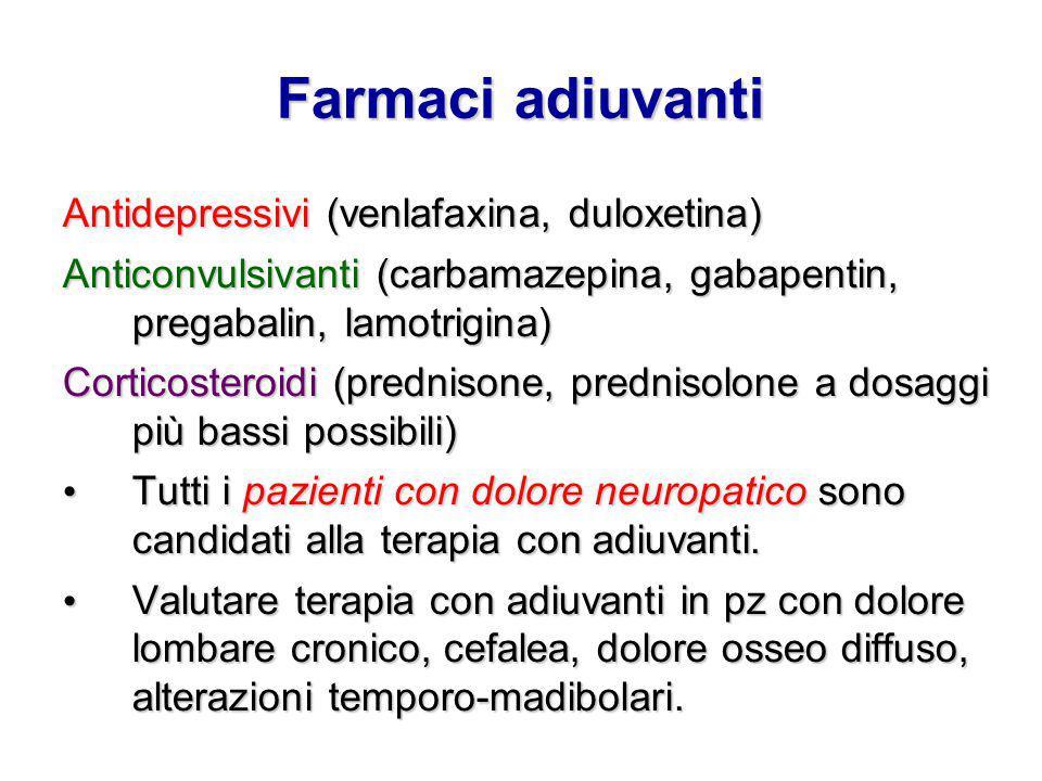 Farmaci adiuvanti Antidepressivi (venlafaxina, duloxetina) Anticonvulsivanti (carbamazepina, gabapentin, pregabalin, lamotrigina) Corticosteroidi (pre