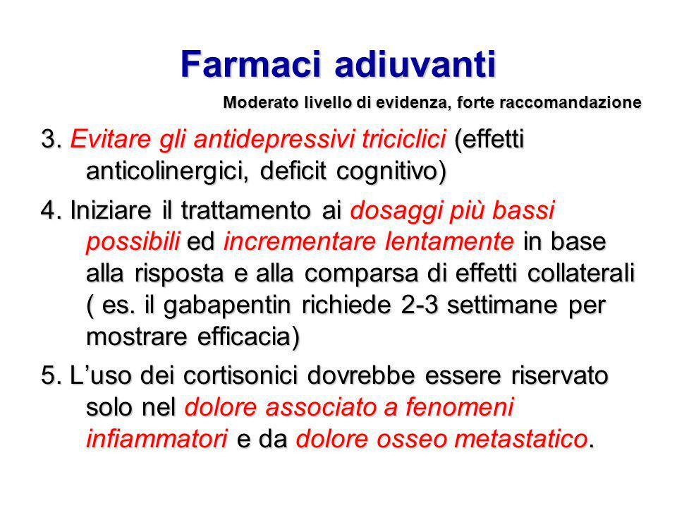 Farmaci adiuvanti 3. Evitare gli antidepressivi triciclici (effetti anticolinergici, deficit cognitivo) 4. Iniziare il trattamento ai dosaggi più bass