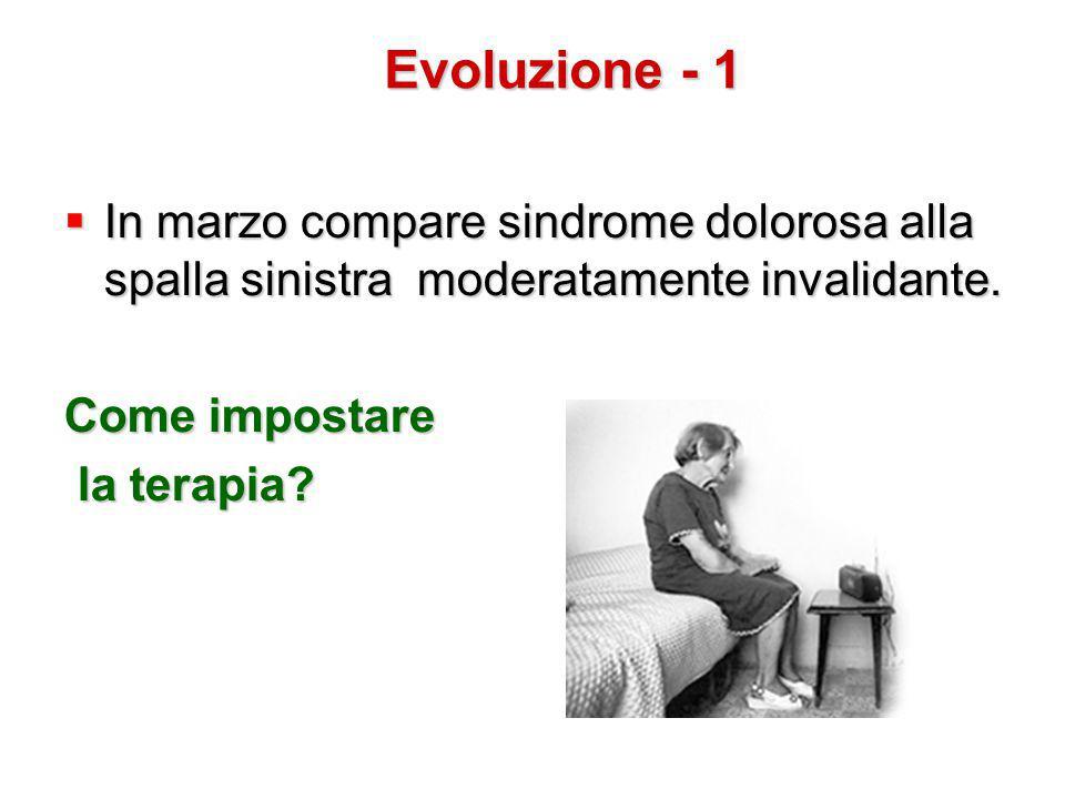  In marzo compare sindrome dolorosa alla spalla sinistra moderatamente invalidante. Come impostare la terapia? la terapia? Evoluzione - 1